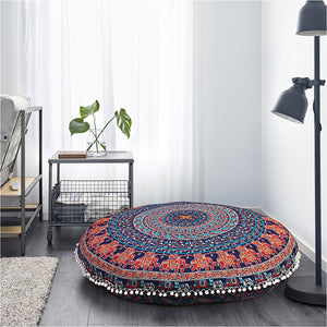 INDIAN MANDALA ROUND TAPESTRY FLOOR CUSHION PILLOW POUF COVER Bohemian 35""