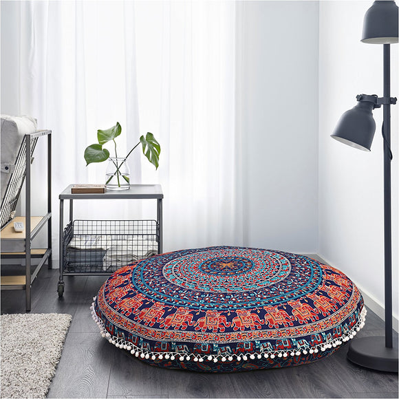 INDIAN MANDALA ROUND TAPESTRY FLOOR CUSHION PILLOW POUF COVER Bohemian 35