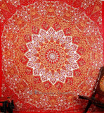 Indian Red Star Mandala Double Bed sheet Wall Hanging Tapestries Throw Tapestry Queen Size
