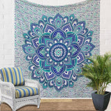 New Green Blue Ombre Double Indian Mandala Wall Tapestry, Aakriti Gallery