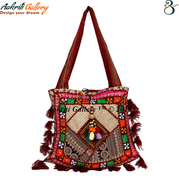 Tribal Shoulder Bag Ethnic Designer Embroidered Work Fashionable Stylish Indian Handbags For Ladies