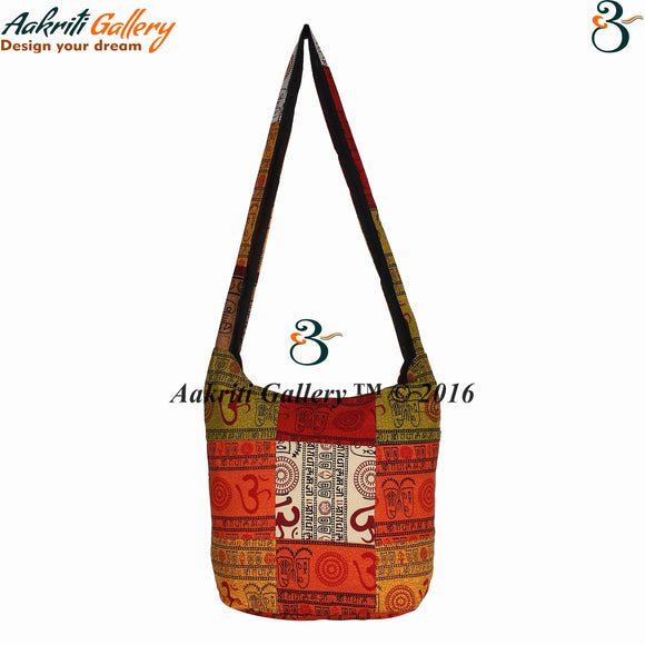 Indian Handmade Multi-Purpose Shoppers Bag Tribal Shoulder Bag Ethnic Designer Patch Om