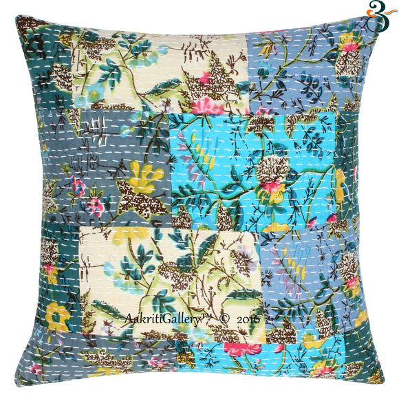 16'' INDIAN CUSHION COVER PILLOW CASE KANTHA-WORK-FLORAL ETHNIC THROW DECOR ART