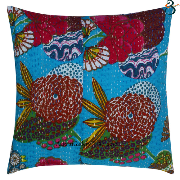 ndian Kantha Cotton Turquoise Pillow Cover Case Sofa Waist Cushion Cover Home Decor 16