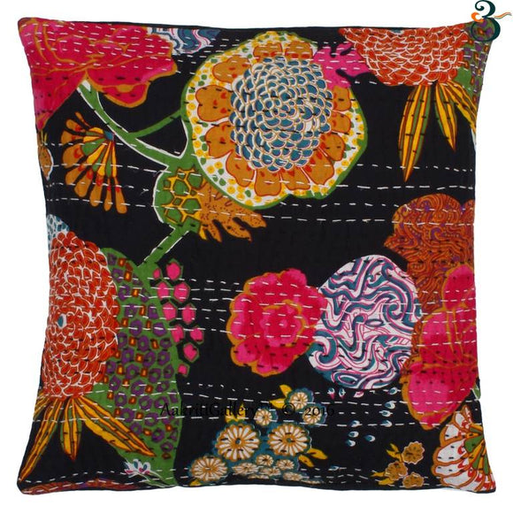 Indian Kantha Cotton Black  Pillow Cover Case Sofa Waist Cushion Cover Home Decor 16