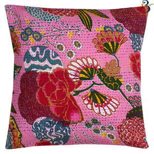 Indian Kantha Cotton Baby Pink Pillow Cover Case Sofa Waist Cushion Cover Home Decor 16""