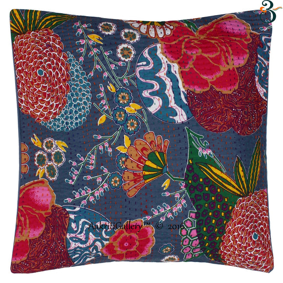 Indian Kantha Cotton Grey Pillow Cover Case Sofa Waist Cushion Cover Home Decor 16