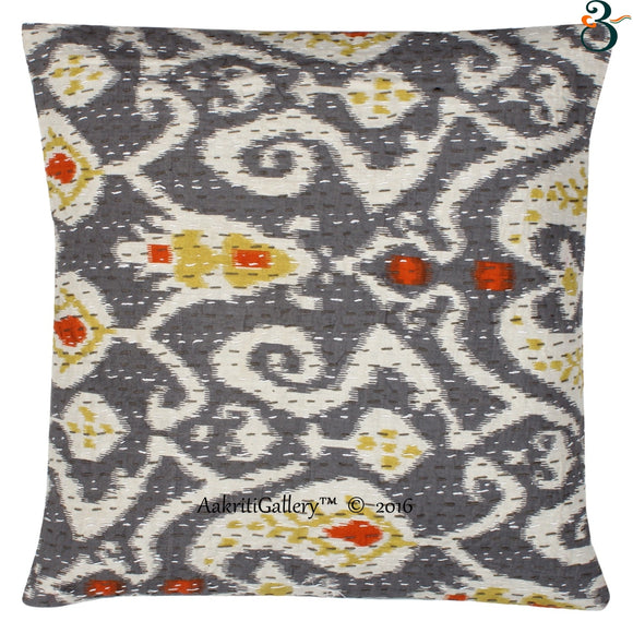 Indian Cotton Ikat Print Pillow Case Cushion Cover Sofa Use Decor 16x16