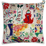 Indian Ethnic White Handmade Floor Kantha Cushion Covers Pillow Case 40x40cms