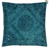 Indian Ethnic White Handmade Kantha Cushion Covers Pillow Case 40x40cms