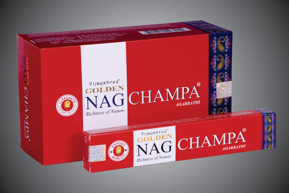 Golden Nag Champa - Incense Joss Sticks - 15g Sticks Box X 12 Packs Agarbathi