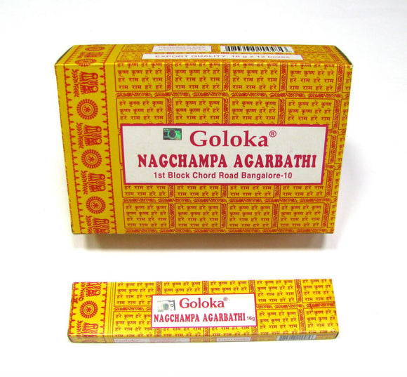 Goloka Nag Champa Incense Sticks 16gms x 12 packs = 192gms