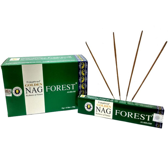 Golden Nag Forest - Incense Joss Sticks - 15g Sticks Box X 12 Packs Agarbathi