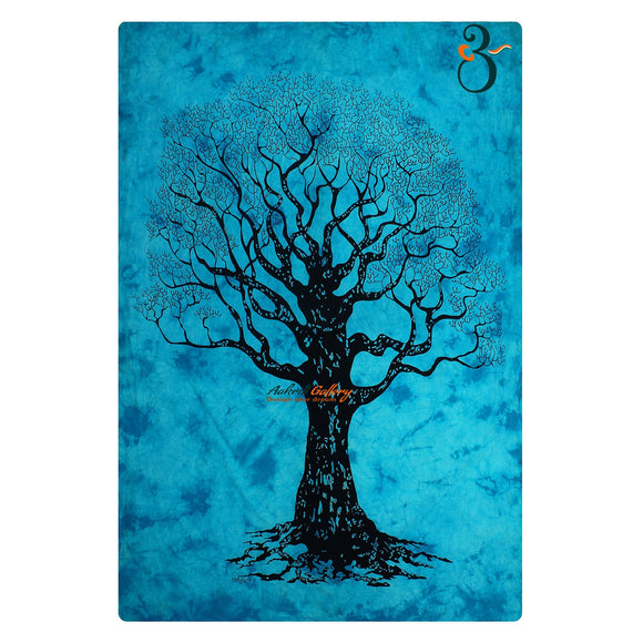 Home Decor Indian Wall Tapestry Turquoise Dye Tree Twin Size