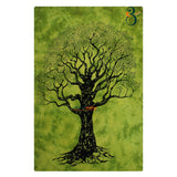 Home Decor Indian Wall Tapestry Green Dye Tree Twin Size