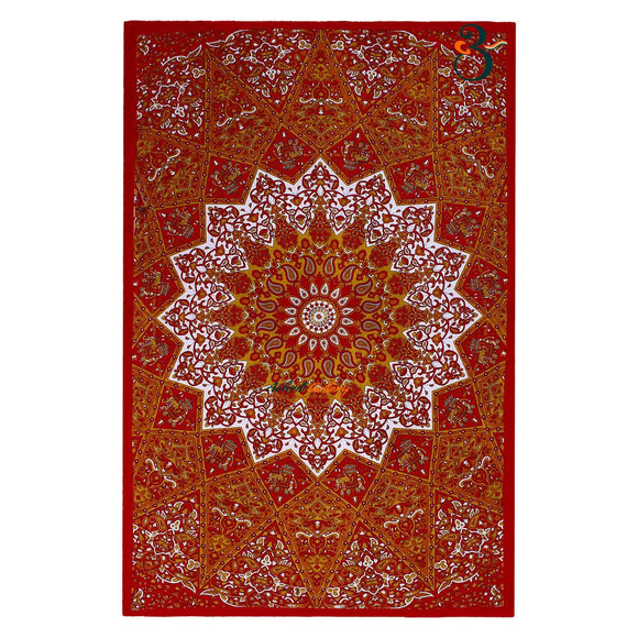 Single Tapestry Mandala Red Star Tapestry Elephant Hippie Wall Hanging Bohemian Bedspread Throw