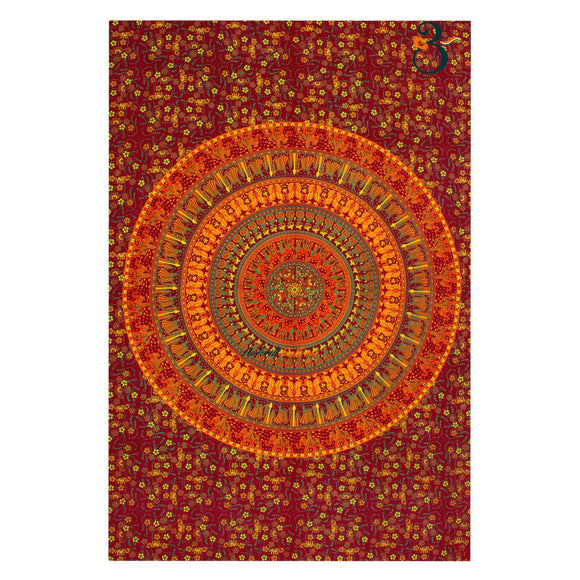 Home Decor Single Tapestry Maroon Bhala Wall Hanging Bohemian Bedspread Throw
