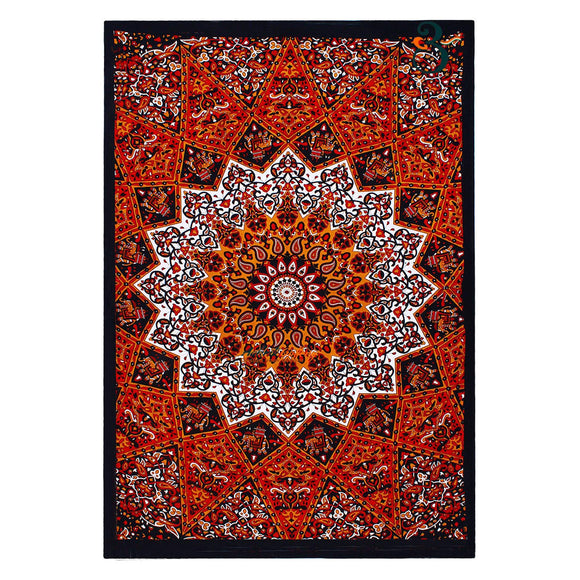 Dark Red Star Single Indian Tapestry Wall Hanging Bohemian Bedspread Throw