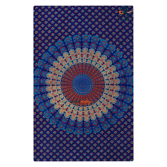 Handmade Single Indian Old Peacock Turquoise Tapestry Wall Hanging Bohemian Bedspread Throw