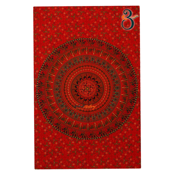 Handmade Single Indian Old Peacock Red Tapestry Wall Hanging Bohemian Bedspread Throw