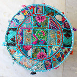 Indian Cotton Fabric Pouf Patchwork Embroidered Ottoman Stool Pouf Pouffe Cover