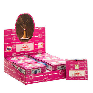 Genuine Original Satya Insence Rose Box Incense 12 Cones X 12 box= 144 cones
