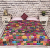 Indian Vintage Ikat Silk Kantha Patchwork Handmade Quilt Blanket King Size Throw