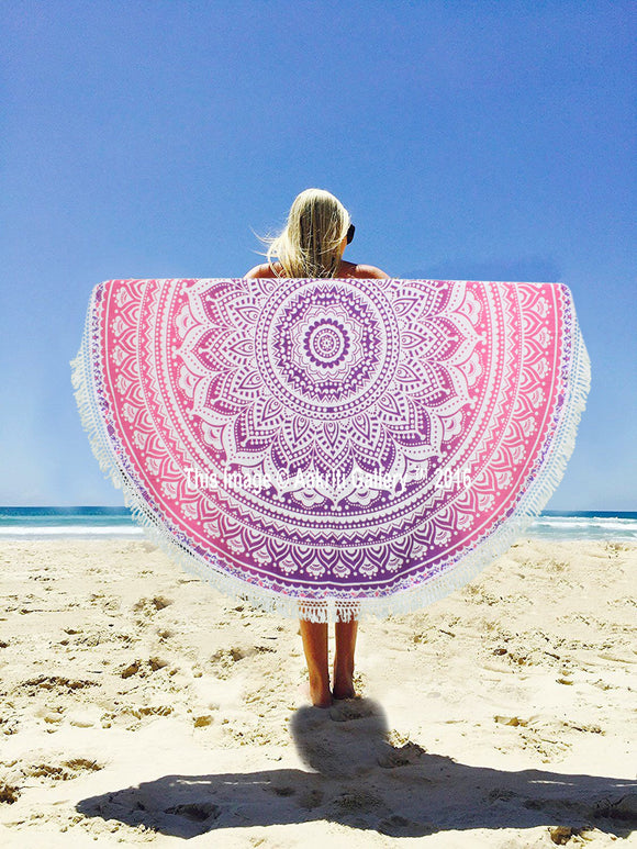 Beach Towel Mandala Ombre Pink and Purple Round Tapestry 72