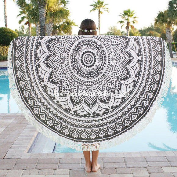 Roundie Mandala Cotton Tapestry Indian Round Hippie Beach Towel Yoga Mat 72
