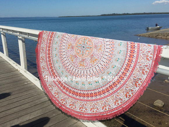 72'' Pecock Mandala Round Tapestry Rug Hippie Wall Hanging Throw Beach Yoga Mat