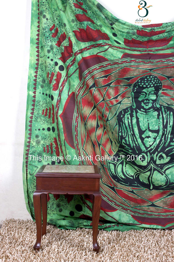 Indian Wall Tapestry Lotus Buddha Green Queen Size