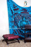 Indian Wall Tapestry Lotus Buddha Turquoise  Queen Size