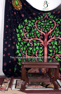 Handpainted Tree elephant Green Indian Mandala Tapestry Tree Of Life Wall Hanging Throw Elephant Print Bedspread