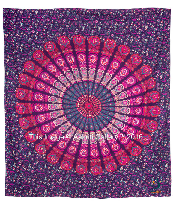 Queen Size Pink Purple Barmeri Mandala New Mor New Peacock Home Decor Wall Tapestry Queen Size, By Aakriti Gallery