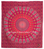 Indian Queen Size Red Barmeri Mandala Red New Mor New Peacock Home Decor Wall Tapestry Queen Size, By Aakriti Gallery