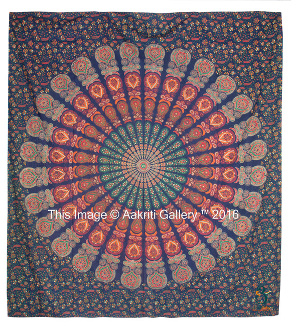 Indian Queen Size Green Barmeri Mandala Green New Mor New Peacock Home Decor Wall Tapestry Queen Size, By Aakriti Gallery