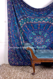 Indian Barmeri Mandala Flower Elephant Turquoise Queen Size