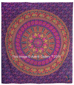 Indian Barmeri Mandala Flower Elephant Pink Purple Queen Size