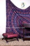 Indian Barmeri Mandala Dark Blue + Red  Queen Size