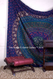 Queen Rawal Dark Blue Mandala Room Wall Decor Bohemian Bedspread Beach Tapestry 90X82""