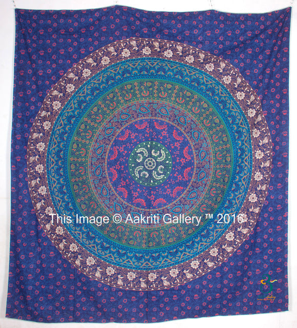 Queen Rawal Dark Blue Mandala Room Wall Decor Bohemian Bedspread Beach Tapestry 90X82