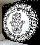 Hamsa ombre  Black & White (black border) Queen Size Bedcover Ethnic Indian Wall Hanging Tapestry Home Decor Double Indian Mandala Wall Tapestry, Aakriti Gallery