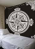 Compass Black & White Queen Size Bedcover Ethnic Indian Wall Hanging Tapestry Home Decor Double Indian Mandala Wall Tapestry, Aakriti Gallery