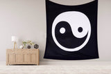 YING YANG Black & White Queen Size Bedcover Ethnic Indian Wall Hanging Tapestry Home Decor Double Indian Mandala Wall Tapestry, Aakriti Gallery