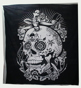 SKULL Black & White (white border) Queen Size Bedcover Ethnic Indian Wall Hanging Tapestry Home Decor Double Indian Mandala Wall Tapestry, Aakriti Gallery