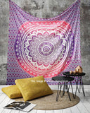 Pink Purple Ombre Mandala Tapestry  Indian Bohemian Hippie Tapestry Wall Hanging, Hippy Blanket or Beach Throw, Ombre Mandala Bedspread for Bedroom.  Qeeen Size