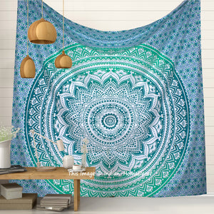 Indian Cotton Ombre Mandala Hippie Tapestry Bedspread Queen Wall Hanging Decor