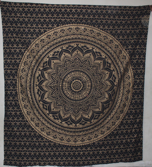 Old Golden Black Ombre Mandala Wall Hanging Queen Size Throw Art Queen Size Aakriti Gallery