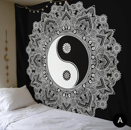 Ying Yang Ombre Black & White (black border) Double Indian Mandala Wall Tapestry, Aakriti Gallery