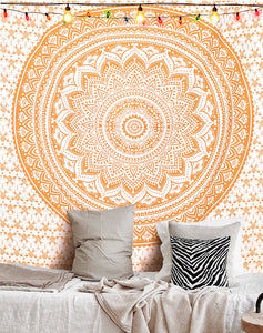 "Old Golden Ombre Mandala Wall Hanging 108"" Indian Boho Tapestry Gypsy Throw Art Queen Size Aakriti Gallery"